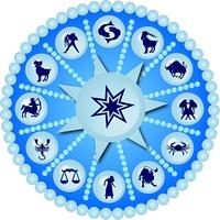 Horoskopscheibe mit Sternzeichen Symbolen
