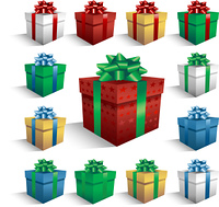 Vector gift boxes isolated on white