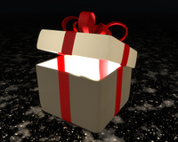 Semi-open gift box with red ribbon and bow