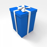 Blue present with white ribbon