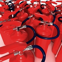closeup view of fire extinguishers