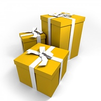 three Big yellow gift boxes with a white ribbons on a neutral background