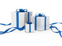 gift box white blue ribbon
