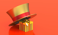 Gift box under hat