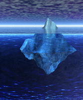 Iceberg in the Open Ocean with Horizon