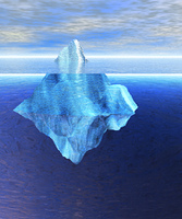 Floating Iceberg in the Open Ocean with Horizo