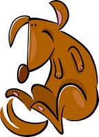 cartoon doodle of happy dog