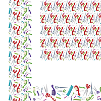Beauty salon combs and scissors horizontal and vertical  seamless pattern