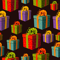 Colorful group of gift boxes pattern