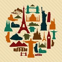 World landmark silhouettes set