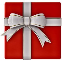 Christmas red gift with white ribbon and bow