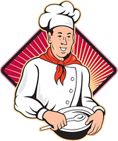 Chef Cook Baker Mixing Bowl Cartoon