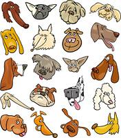 Cartoon funny dogs heads big set