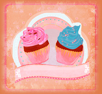 Lovely Cupcakes Design card raster