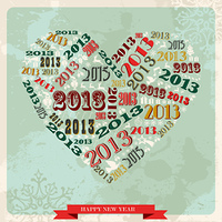 Vintage Happy New year 2013 concept heart