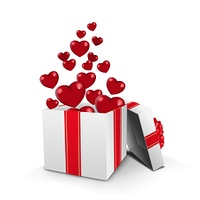 Opened gift box with hearts