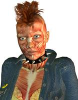 Muskelstruktur Detail Gesicht eines Punk Madchen