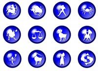 blaue sternzeichen buttons - horoskop