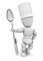 Chef with metal spoon