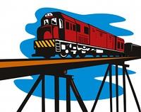 diesel train traveling bridge