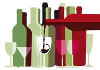 Weis und Rotwein Flaschen und Glaser
