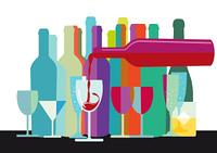 Glaser und Flaschen