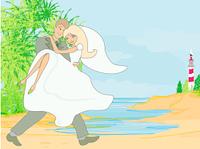 Wedding couple on a tropical beach