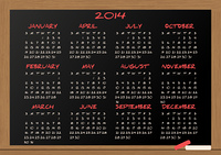 2014 calendar chalkboard