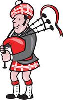 Scotsman Bagpiper Bagpipes Cartoon