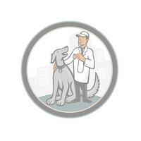 Veterinarian Vet With Pet Dog Cartoon