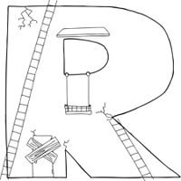 Outlined R as Building