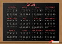 2015 calendar chalkboard