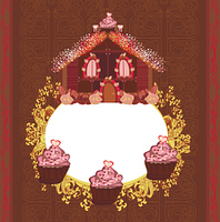 Gingerbread house,  vintage frame