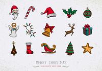 Colorful Vintage Christmas icons set