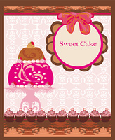 card with sweet  cake
