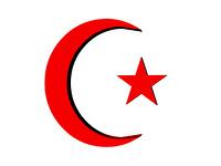 Orientalisches Symbol Halbmond und Stern freigestellt
