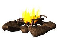 Lagerfeuer mit Steinkreis Holz und Flammen freigestellt