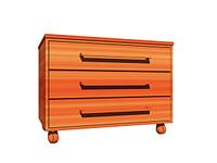 Holzschrank mit Schubladen und Rollen, freigestellt