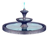 Springbrunnen gemauert mit Wasser und Fontaine freigestellt