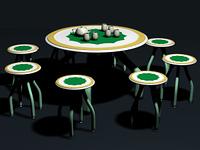 Tisch und Stuhle mit Kaffeeservice