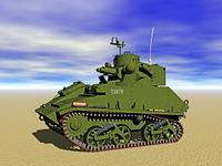 Panzer mit Kanone im Gelande