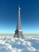 Eiffelturm uber den Wolken