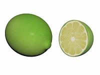 grune Limone aufgeschnitten freigestellt