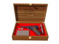 Pistole im Waffenkoffer freigestellt