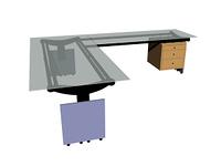 Schreibtisch mit Glasplatte freigestellt