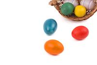 Easter eggs in a overturned basket