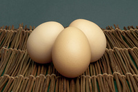 Raw eggs on wooden base