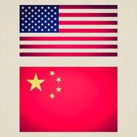 Retro look USA China flag vignetted illustration