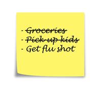 Sticky note reminder to get flu shot