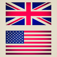 Retro look UK and USA flag vignetted illustration